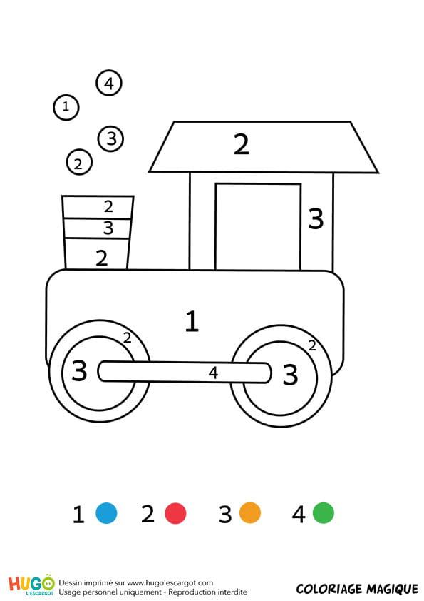 Coloriage magique CP: une locomotive