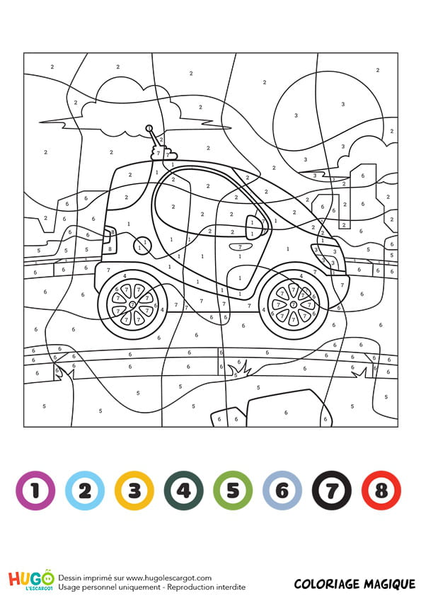 Coloriage magique ce1 une mini voiture - Coloriage voiture mini cooper ...