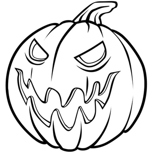 Coloriage Méchante citrouille d'Halloween en Ligne Gratuit à imprimer