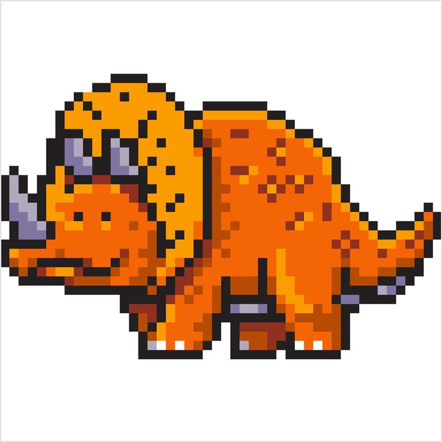 Triceratops Dinosaure En Pixel Art