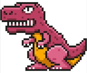 T-Rex, dinosaure en pixel art
