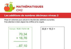 Additions de nombres décimaux niveau 2, exercice 1