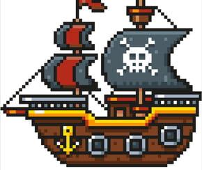 Bateau pirate en pixel art