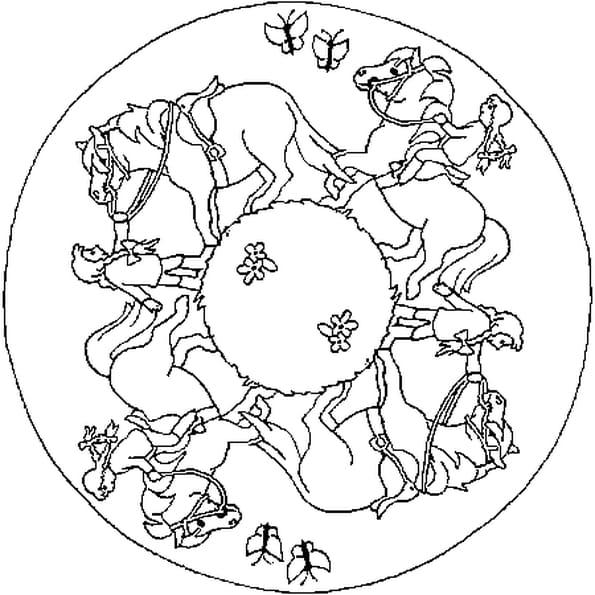 Coloriage Mandala De Chevaux En Ligne Gratuit à Imprimer