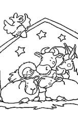 Coloriage La crèche de Noël