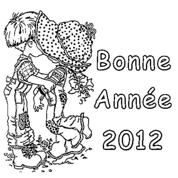 Coloriage Bonne Année 2012 en Ligne Gratuit à imprimer
