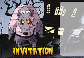 Carte invitation Halloween loup garou