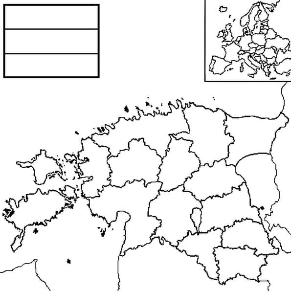 Coloriage carte Estonie en Ligne Gratuit à imprimer