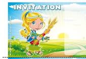 Carte invitation anniversaire petite fille dans les blés