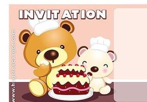 Carte invitation anniversaire gâteau à la fraise