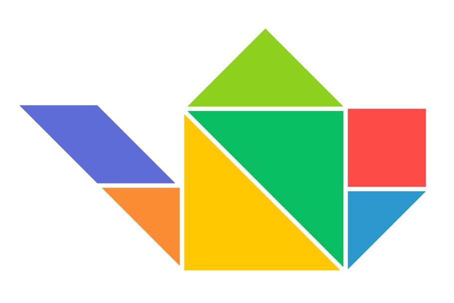 Le tangram niveau facile, une cafetière