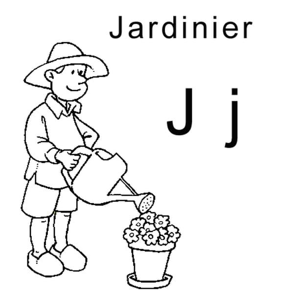 Coloriage lettre J comme jardinier en Ligne Gratuit à imprimer