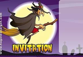 Carte invitation Halloween sorcière sur son balais