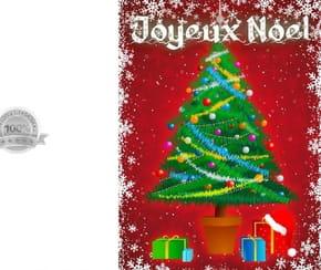 Carte de vœux sapin de Noël et cadeaux