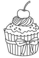 Coloriage Cupcake cerise