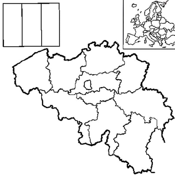Coloriage carte belgique en Ligne Gratuit à imprimer