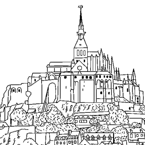 Coloriage Mont Saint Michel en Ligne Gratuit à imprimer