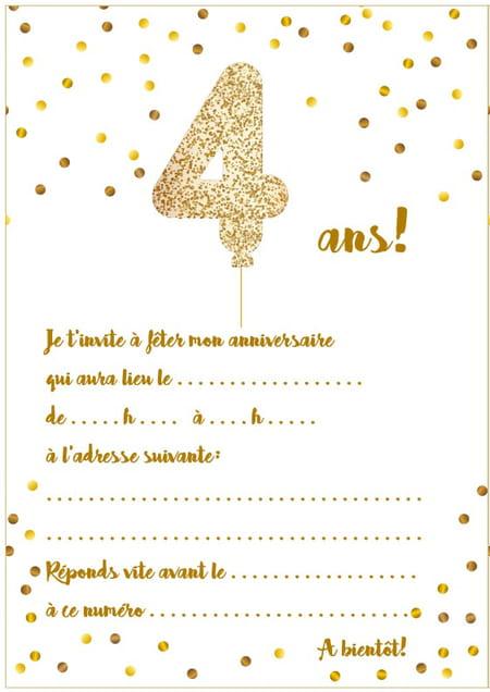 Carte d'invitation d'anniversaire 4 ans