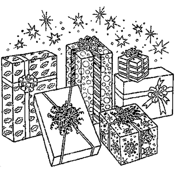 DE CADEAUX POUR NOËL : Coloriage De cadeaux pour Noël en Ligne ...