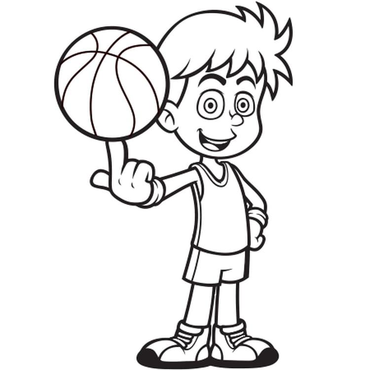joueur de basket ball - Coloriage Garcon