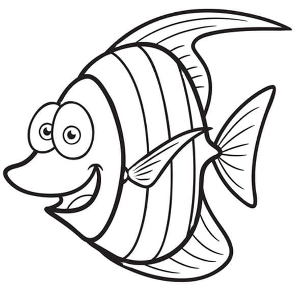 Coloriage Petit poisson rigolo en Ligne Gratuit à imprimer