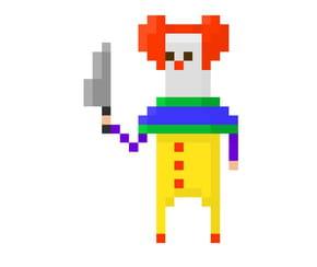 Pixel art Clown d'Halloween