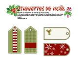 Étiquettes de Noël vertes et rouges