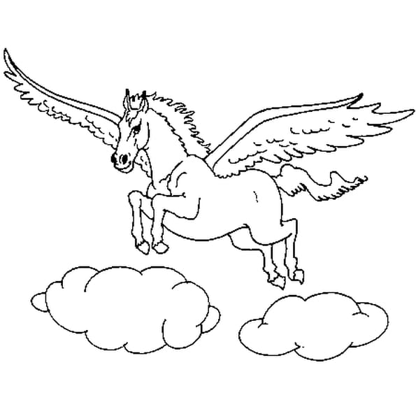 Coloriage cheval ail en ligne gratuit imprimer - Dessin de cheval magnifique ...