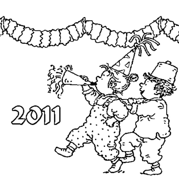 Coloriage Nouvel An en Ligne Gratuit à imprimer