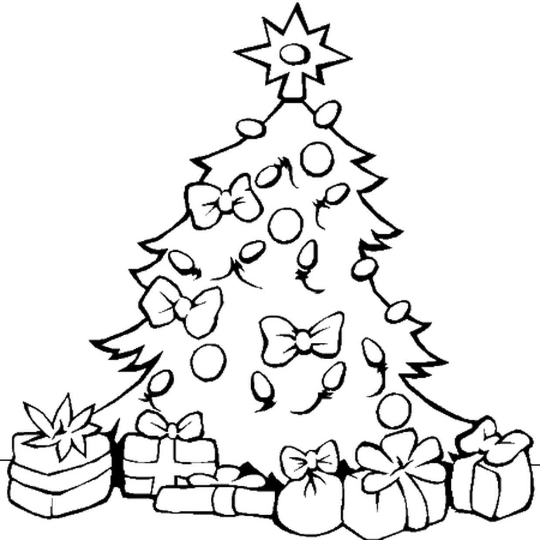 Sapin De Noel Avec Pied coloriage sapin de noël et ses cadeaux en ligne gratuit à