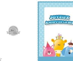 Carte joyeux anniversaire animaux fond bleu