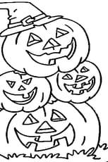 Coloriage Famille citrouille d'Halloween