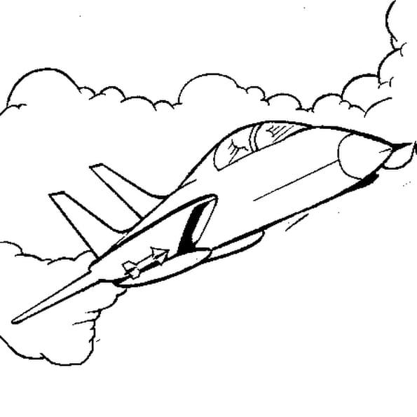 Dessin avion de chasse a colorier