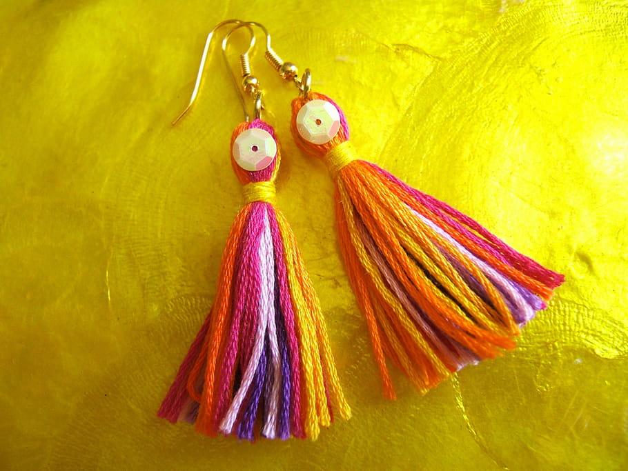 Boucles d'oreilles JAIPUR en coton mouliné