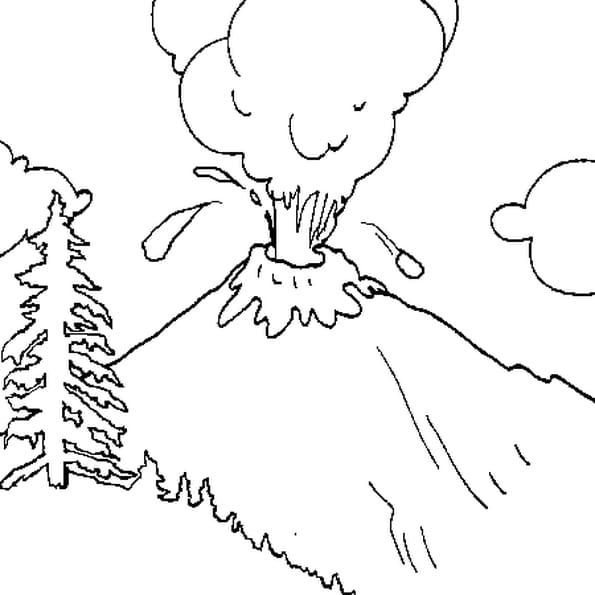 Dessin Volcan a colorier
