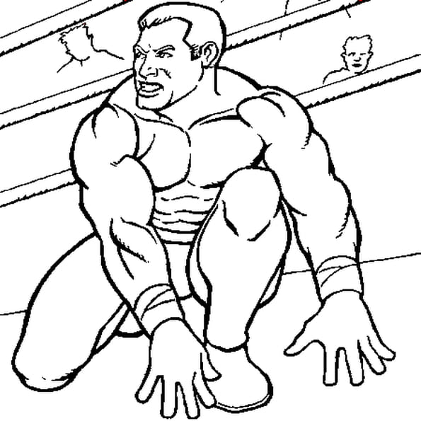 Dessin catcheur WWE a colorier