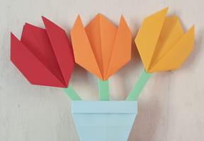 Origami fleurs en pot