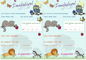 Carte d'invitation d'anniversaire thème animaux