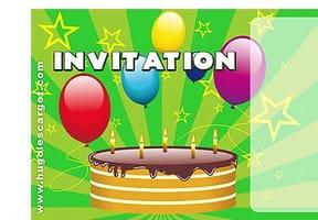 Carte invitation anniversaire gâteau et ballons