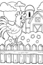Coloriage La grange et le coq de la ferme