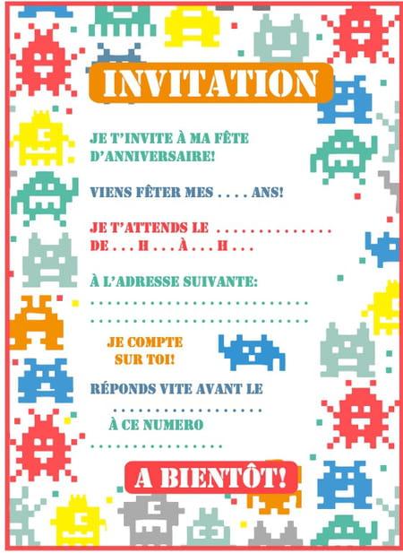 Carte Dinvitation Danniversaire Thème Pixel Art