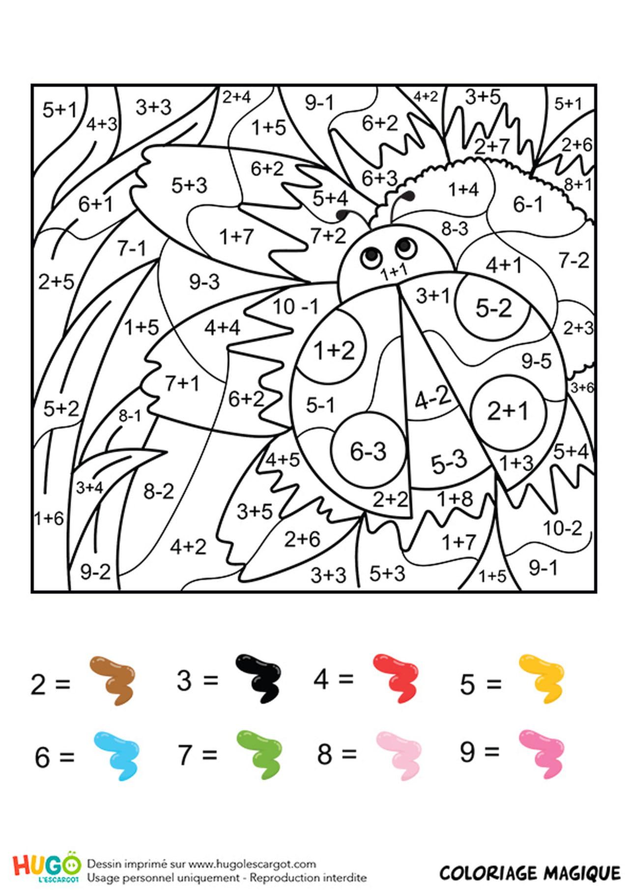 Coloriage Magique Insecte.Coloriage Magique Ce1 Une Coccinelle