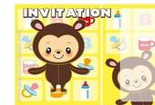 Carte invitation anniversaire déguisement ourson