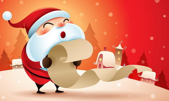Coloriage liste de cadeaux de Noël