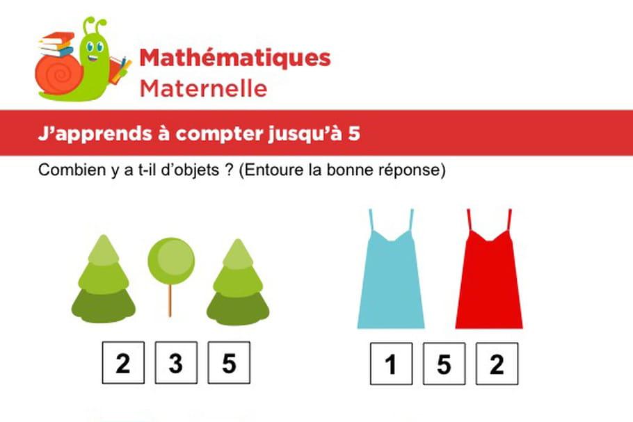 Mathématiques fiche 3, j'apprends à compter jusqu'à 5