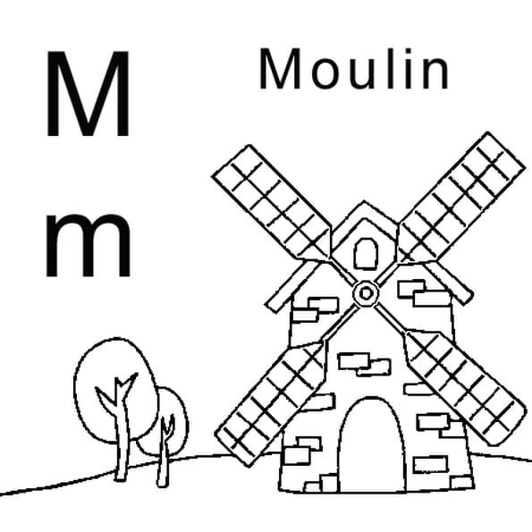 Dessin lettre M comme moulin a colorier