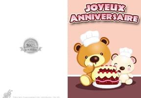 Carte anniversaire oursons et gâteau