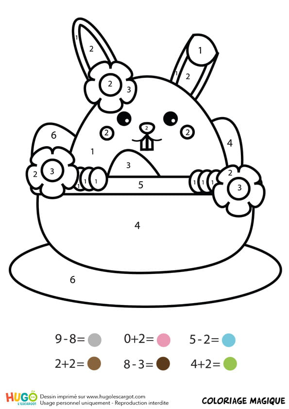 Coloriage magique CP: un lapin dans une tasse