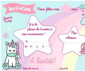 Carte d'invitation d'anniversaire thème des licornes