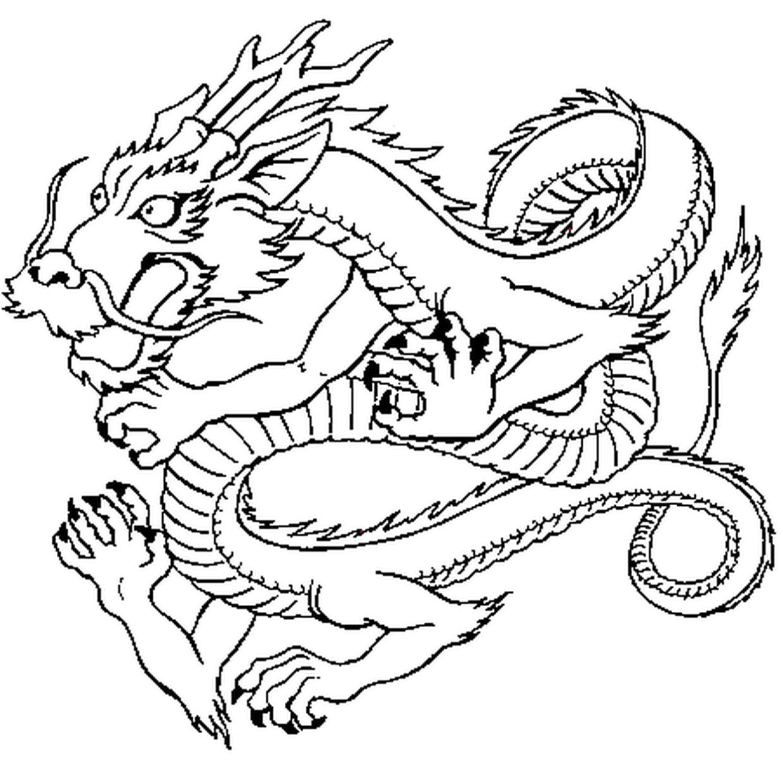 Coloriage Dragon Japonais En Ligne Gratuit à Imprimer